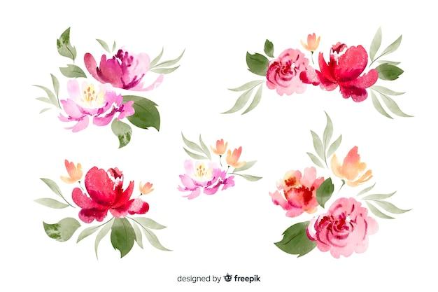 Kolekcja akwarela bukiet kwiatów