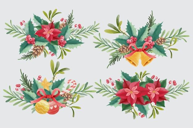 Kolekcja akwarela bukietów świątecznych