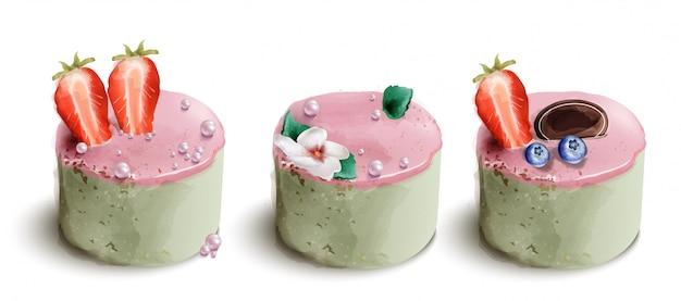 Kolekcja akwarela ciasto jagodowe