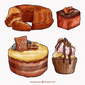 Kolekcja akwarela czekoladowe ciastka