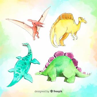 Kolekcja akwarela dinozaurów