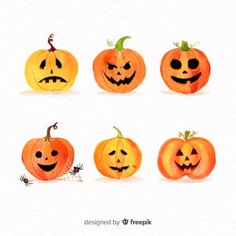 Kolekcja akwarela dyni halloween