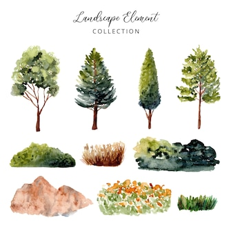 Kolekcja akwarela elementu zielonego krajobrazu