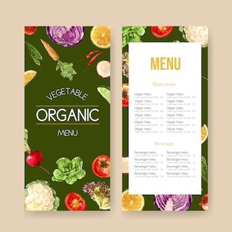 Kolekcja akwarela farby roślinne. świeża żywność organicznego menu zdrowa ilustracja