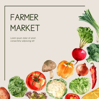 Kolekcja akwarela farby roślinne. świeżego jedzenia organicznie wystroju reklamy zdrowa ilustracja