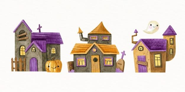 Kolekcja akwarela halloween nawiedzone domy