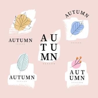 Kolekcja akwarela jesień etykiety