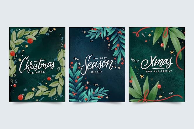Kolekcja akwarela kartki świąteczne
