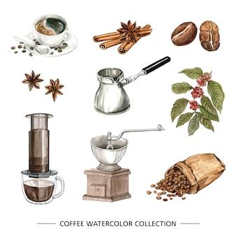 Kolekcja akwarela kawy