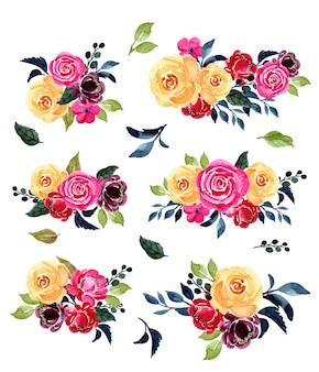 Kolekcja akwarela kompozycja kwiatowa