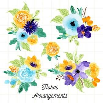 Kolekcja akwarela kompozycja świeżych kwiatów