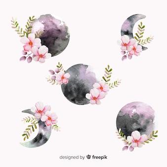 Kolekcja akwarela księżyca w fioletowych odcieniach