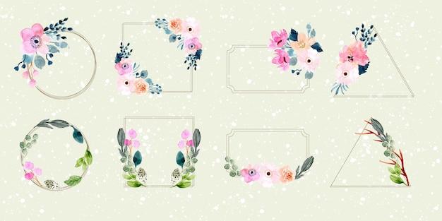 Kolekcja akwarela kwiatów ramki