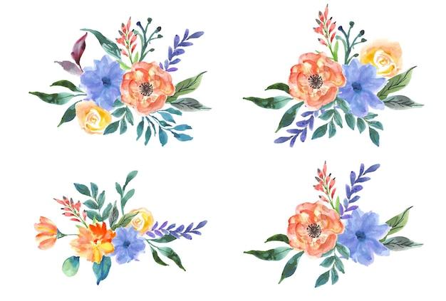Kolekcja akwarela kwiatowy bukiet akwarela