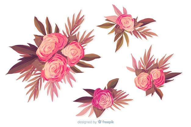 Kolekcja akwarela kwiatowy bukiet w odcieniach różu