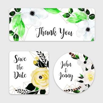 Kolekcja akwarela kwiatowy etykieta ślubna
