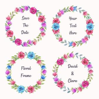 Kolekcja akwarela kwiatowy wieniec na zaproszenie na ślub ramki