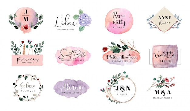 Kolekcja akwarela logo kwiatowy