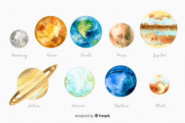 Kolekcja akwarela planety desing