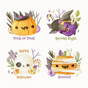Kolekcja akwarela płaskich etykiet halloween