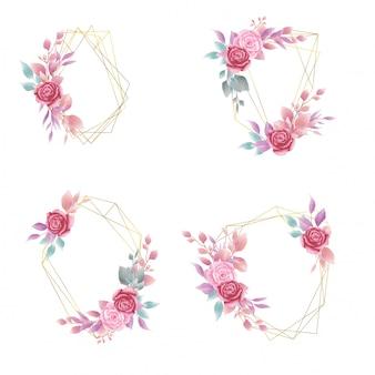 Kolekcja akwarela rama kwiatowy