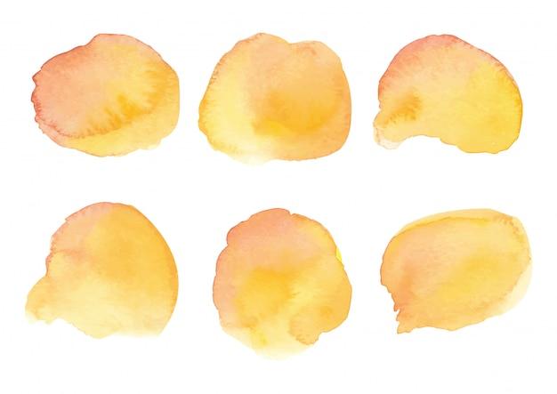 Kolekcja akwarela rozchlapać kolor pomarańczowy