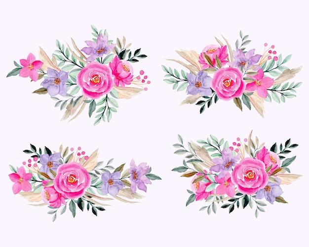 Kolekcja akwarela różowy fioletowy ikiebana