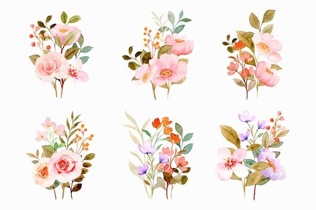 Kolekcja akwarela różowy kwiatowy bukiet