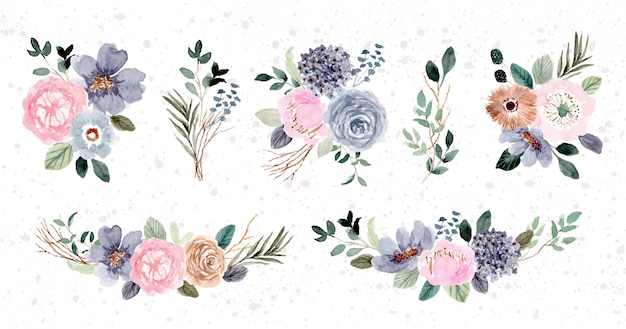Kolekcja akwarela różowy niebieski kompozycja kwiatowa