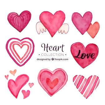 Kolekcja akwarela serca