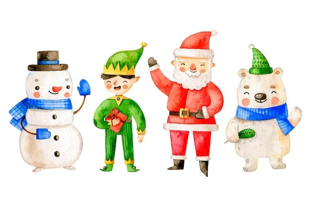 Kolekcja akwarela świąteczne postacie
