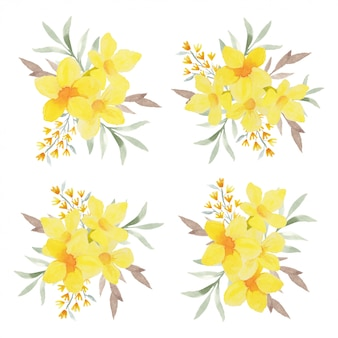Kolekcja akwarela tropikalny kwiat układ