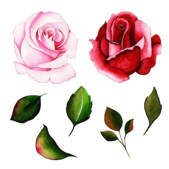 Kolekcja akwarela valentine cute elements