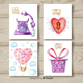Kolekcja akwarela valentine karty
