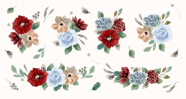 Kolekcja akwarela vintage czerwony niebieski kompozycja kwiatowa