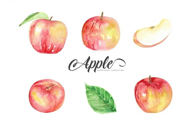 Kolekcja akwarela w stylu czerwonych jabłek