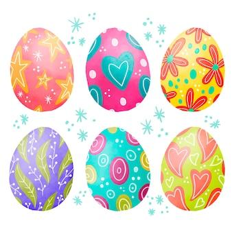 Kolekcja akwarela wielkanocny szczęśliwy jajko