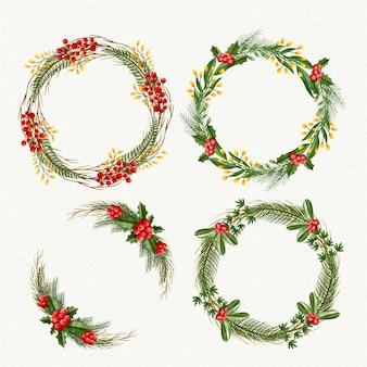 Kolekcja akwarela wieniec świąteczny