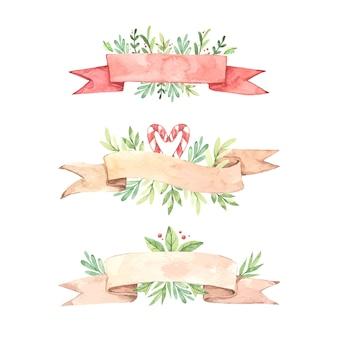 Kolekcja akwarela wstążki świąteczne