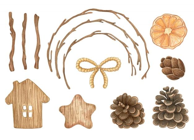 Kolekcja akwarela z drewnianymi elementami wystroju i wzornictwa. jesień clipart