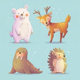 Kolekcja akwarela zwierząt zimowych