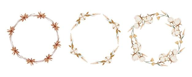 Kolekcja akwareli boho flower wreath