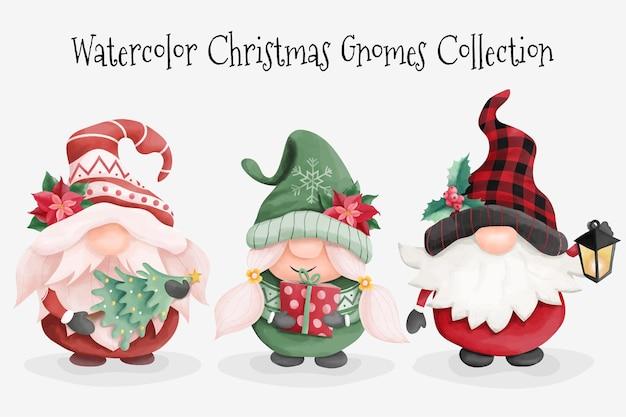 Kolekcja akwareli bożonarodzeniowych gnomów
