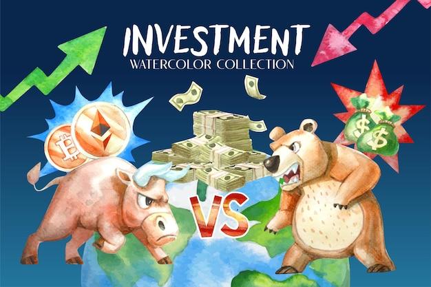 Kolekcja akwareli bull vs. bear o trendach inwestycyjnych. kryptowaluta, która jest trendem wzrostowym wbrew trendowi inwestowania na rynkach finansowych.