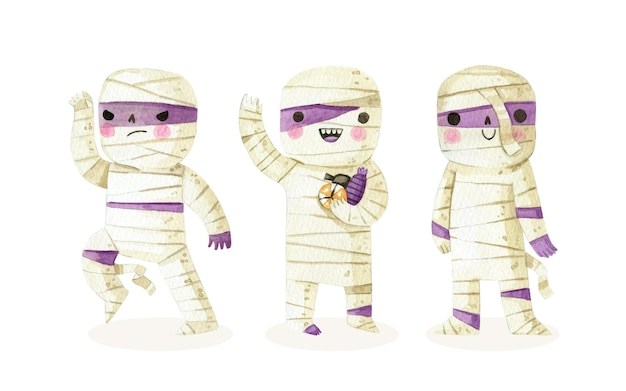 Kolekcja akwareli halloweenowych mumii