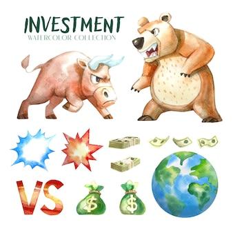 Kolekcja akwareli inwestycyjnych ułożona osobno.