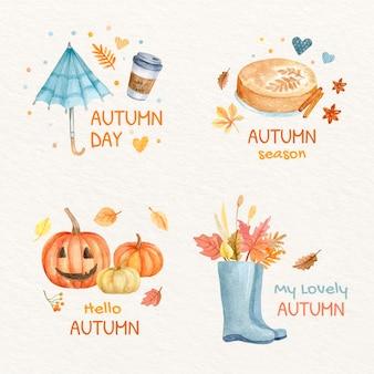 Kolekcja akwareli jesiennych etykiet