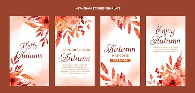 Kolekcja akwareli jesiennych opowiadań na instagramie