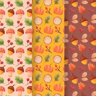 Kolekcja akwareli jesiennych wzorów