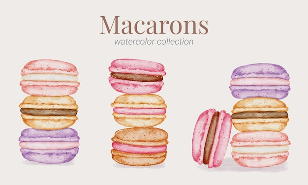 Kolekcja akwareli ręcznie malowanych macarons